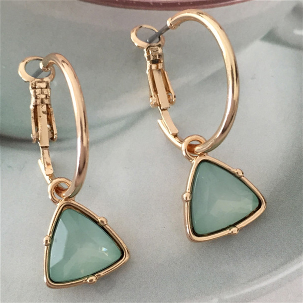 Korea New Fashion Women Cat's Eye Triangle Stone Pendant Hoop Earrings Small Simple Temperament Female Wedding  Jewelry