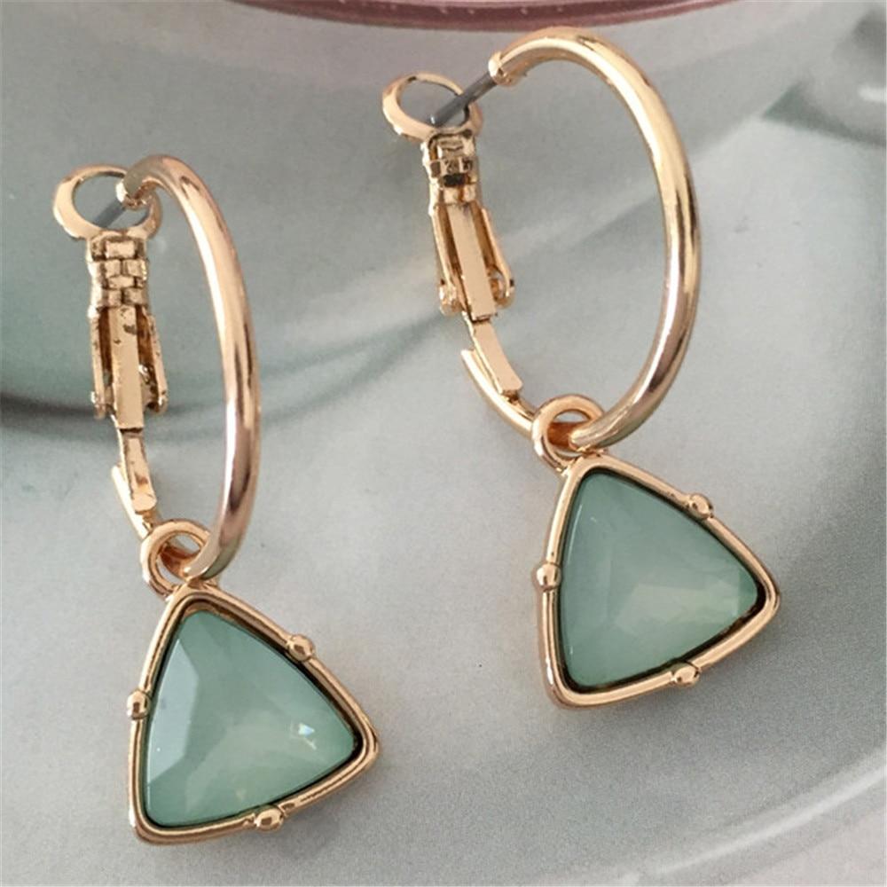 Korea New Fashion Women Cat's Eye Triangle Stone Pendant Hoop Earrings Small Simple Temperament Female Wedding  Jewelry