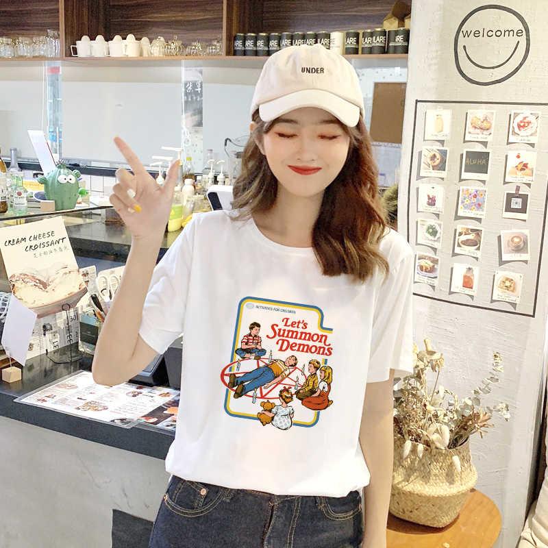 Showtly 悪魔の音楽一緒に歌う世話あなた悪魔猫イエスサタンハロウィン女性の Tシャツ原宿ヴィンテージ韓国服