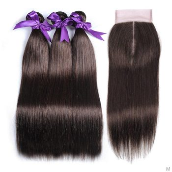 "Pinshair Straight Hair Middle Ratio 10""-26"" Peruvian Remy Human Hair Bundles With Closure 4 Light Brown Bundles With Closure"