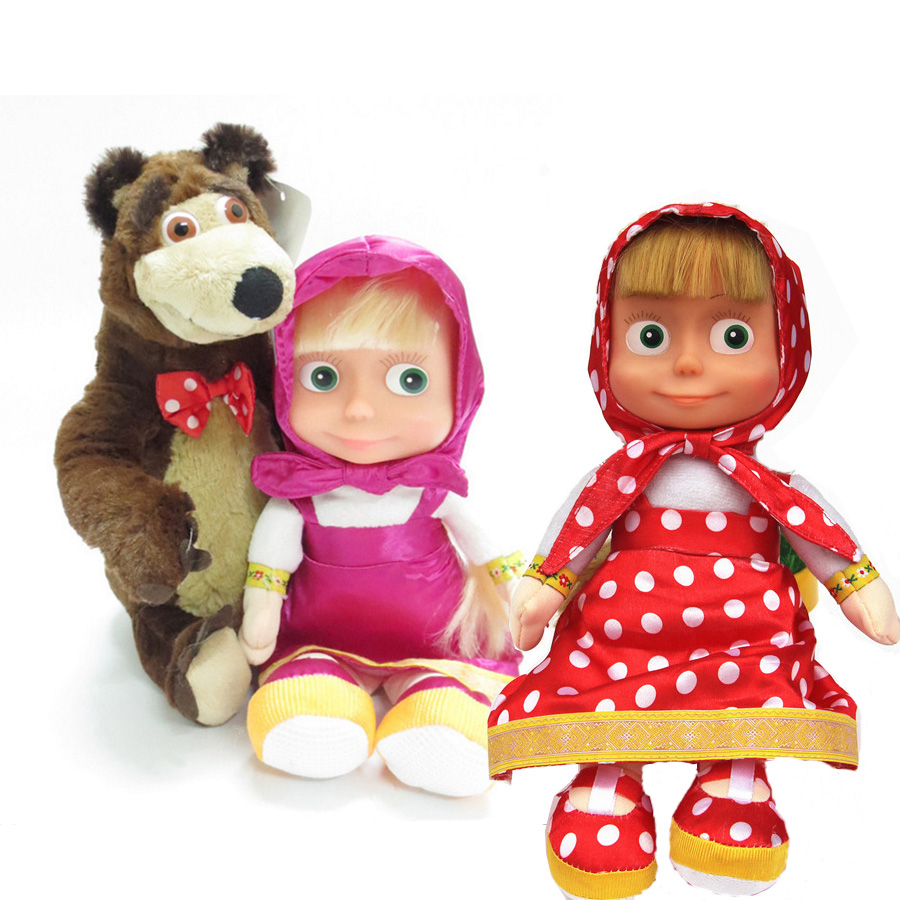 Russian Musical Masha Bear Plush Toys Doll Stuffed Educational For Boys Girls Birthday Christmas Toy New Year Gift