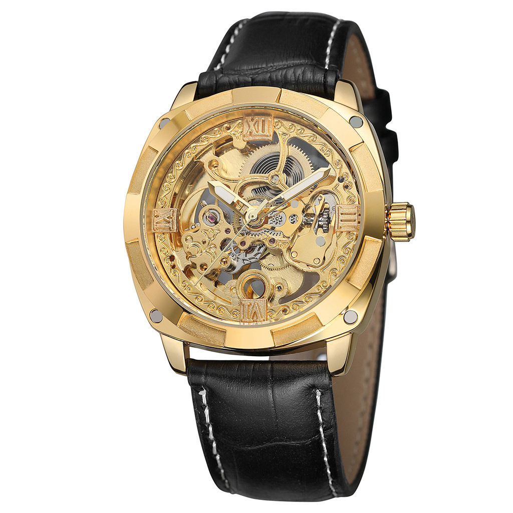watch Clock Hollow Automatic Mechanical Watch Waterproof Leather Business Mechanical Watch Retro Design  Wristwatch Clock #81840