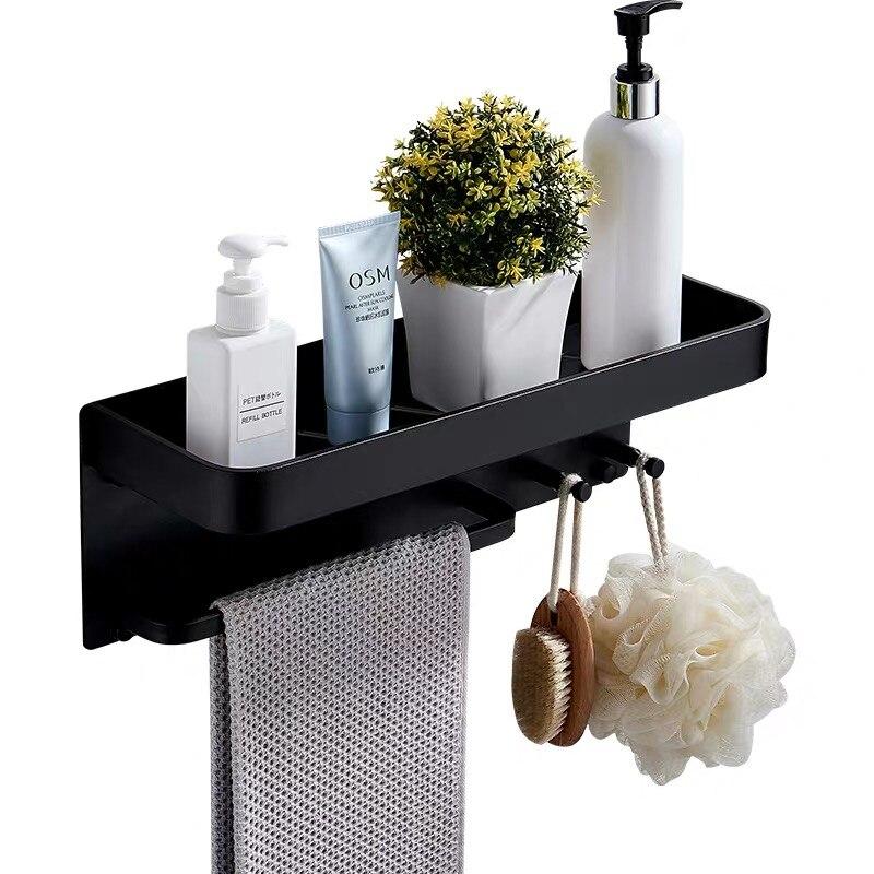 Алюминиевые полки для ванной комнаты с крючками, настенная полка для ванной комнаты, полка для хранения, крючок, легко устанавливается