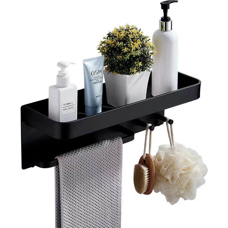 Nail Free Black Space Aluminum Bathroom Shelves With Hooks Wall Mount Bathroom Shelf Bath Storage Rack Hook Easy To Install D