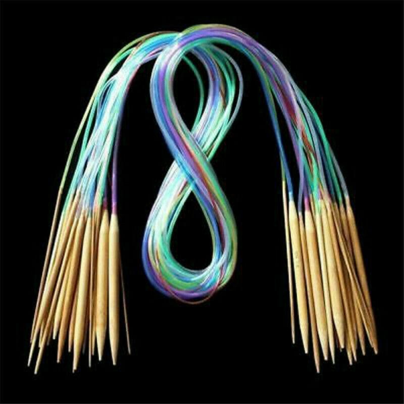 18 шт Многоцветный Круглый трубчатый карбонизированный бамбуковые двойные остроконечные Вязание иглы