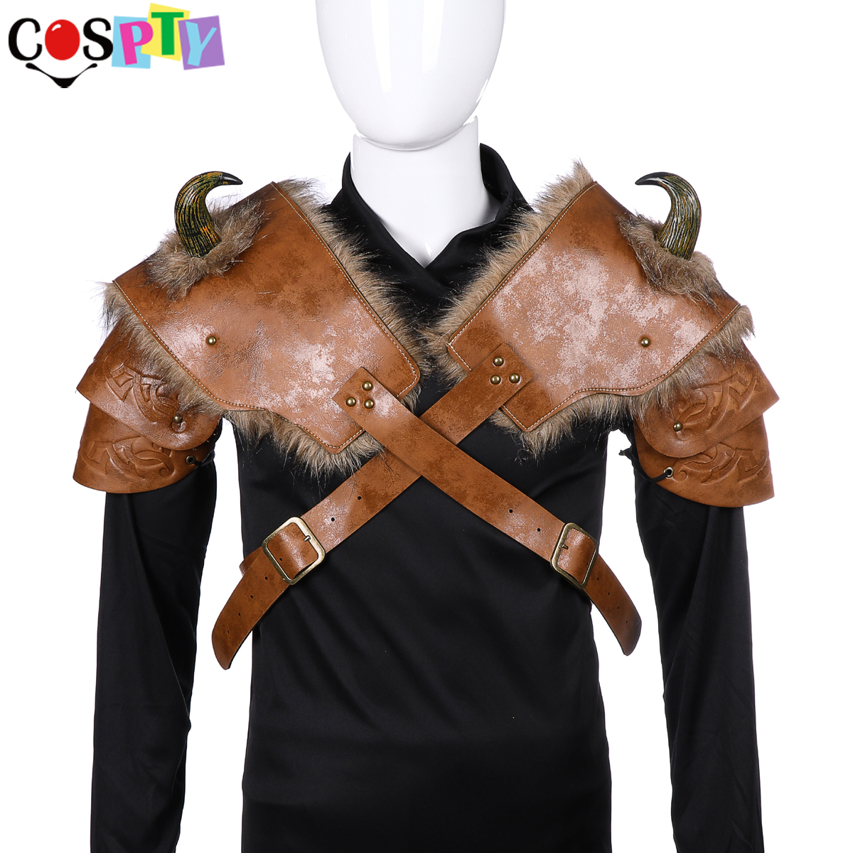 Cospty Medieval Warrior Men Armour Costume Cosplay LARP Adult PU Leather Brown Fur Viking Shoulder Armor With Horn
