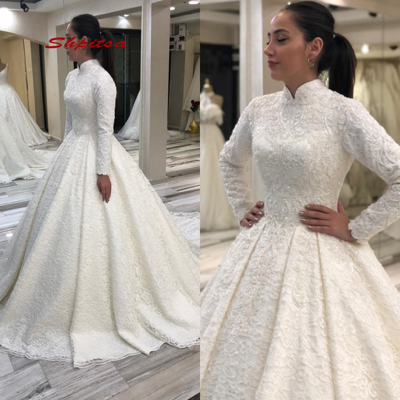 Long Sleeve Lace Muslim Wedding Dress Plus Size Ball Gown Princess Dubai White Ivory Bridal Bride Wedding Gowns