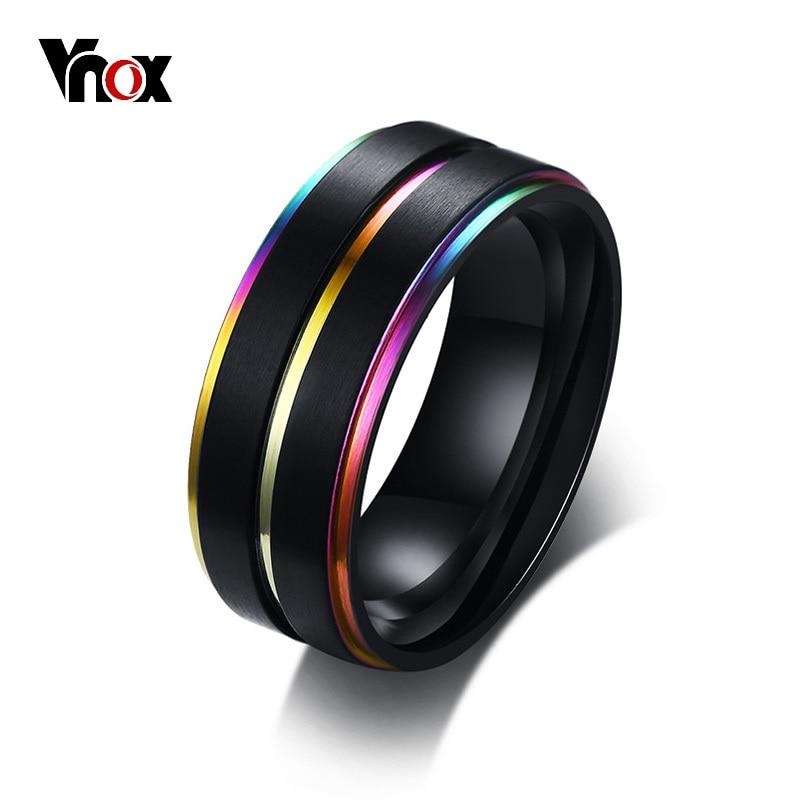 Vnox serin ince gökkuşağı çizgi alyanslar erkekler için 8MM siyah paslanmaz çelik erkek Anel Masculino mat bitmiş aksesuarlar