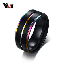 Vnox крутые тонкие свадебные кольца с радужной линией для мужчин