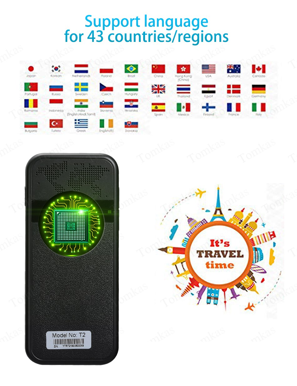 TOMKAS AI Smart Pocket Language Translator with 2.4 Inch Touch Screen and  WIFI for Multi language Voice and Photo Translation in Real Time 14