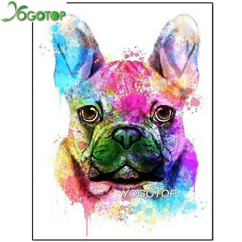 Y2396 pintura de diamantes bulldog francês, kit completo de broca redonda, ponto cruz 5d, bordado, diamante, arte mosaico, animal de estimação