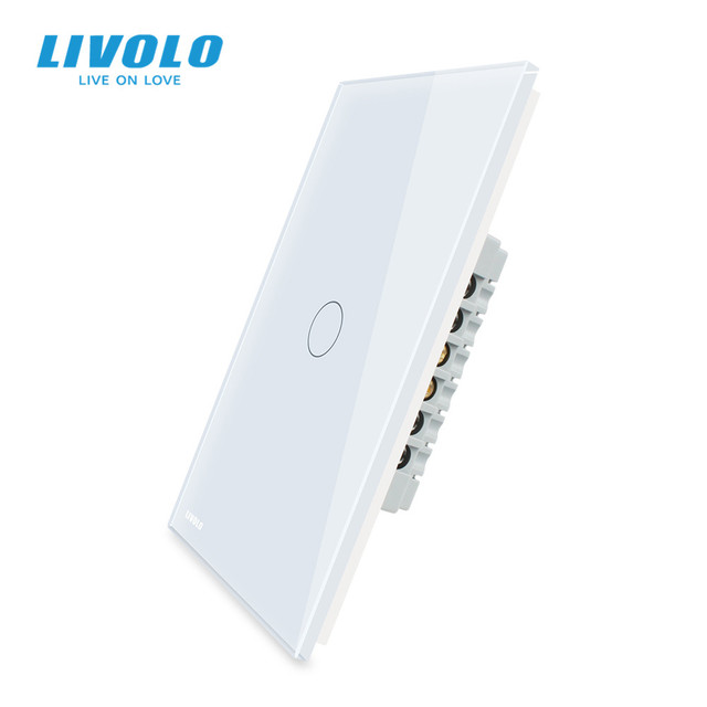 Livolo Fabrikant Wandschakelaar, Interruptor 110V, 1way Controle Ivory Glas Panel, Ons Touch Light Switch, met Backlight