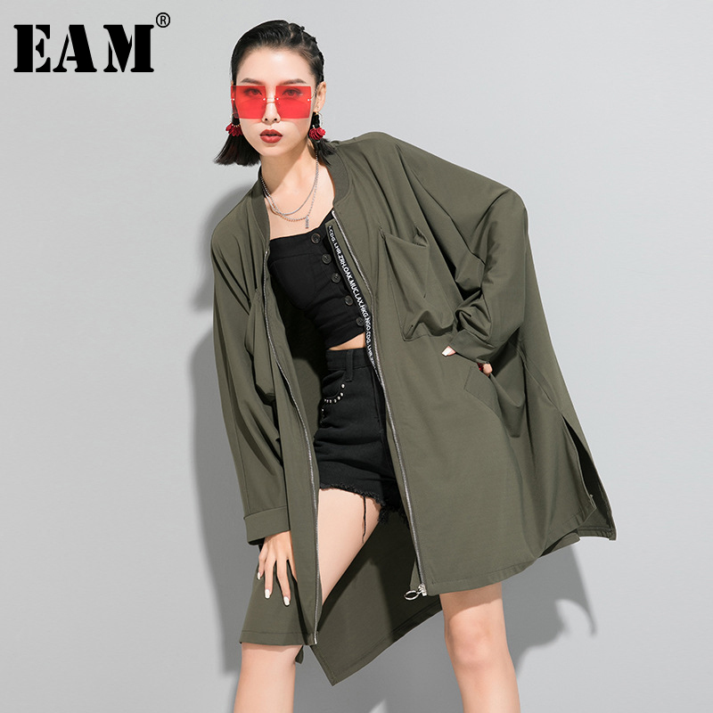 [EAM] Women Green Brief Long Big Size Trench New Stand Collar Long Sleeve Loose Fit Windbreaker Fashion Tide Spring 2020 1R649