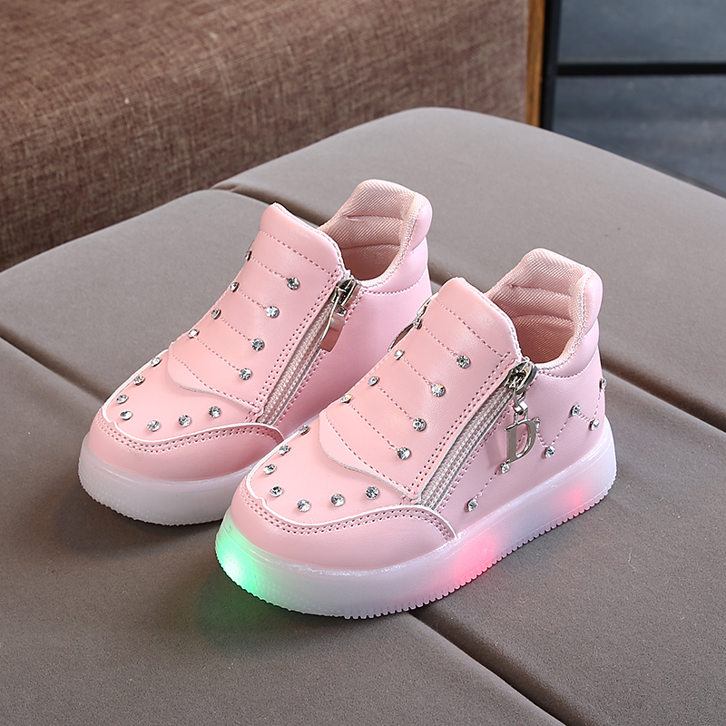 Autumn Children Shoes Girl Fashion LED Lights Soft Casual Sports Walking Toddler Pu Leathes Shoes|Sneakers|   - AliExpress