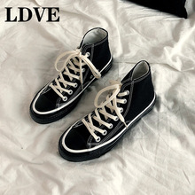 Chic Classic Canvas Shoes Unisex All Black Cloth Shoes For Lovers Woman Man Sneakers Lace Up High Top Stylish Shoe Size 35-44 unisex sneakers converse men women colorful leopard print hand painted canvas shoes high top all star unique gifts man woman