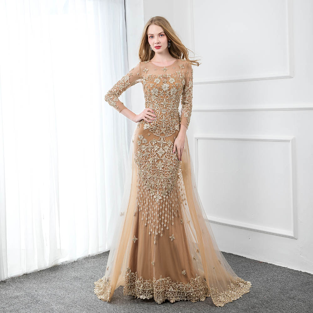 Couture Champagne Embroidered Full Sleeve Evening Dresses Long Tulle Beading Formal Dress Robe De Soiree