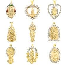 Ожерелье золотого цвета с изображением девы Марии для женщин и мужчин, цепочка с изображением христианской молитвы с изображением Иисуса, б...
