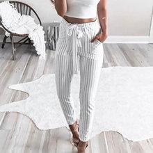 купить Womens Elastic Drawstring High Waist Trousers Long Casual Pencil Pants Lace Up Long Pants дешево