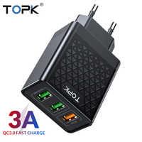 TOPK B354Q 3 Ports 30W Charge rapide 3.0 chargeur USB pour iPhone Xiaomi Samsung Huawei QC3.0 chargeur de téléphone mural de Charge rapide