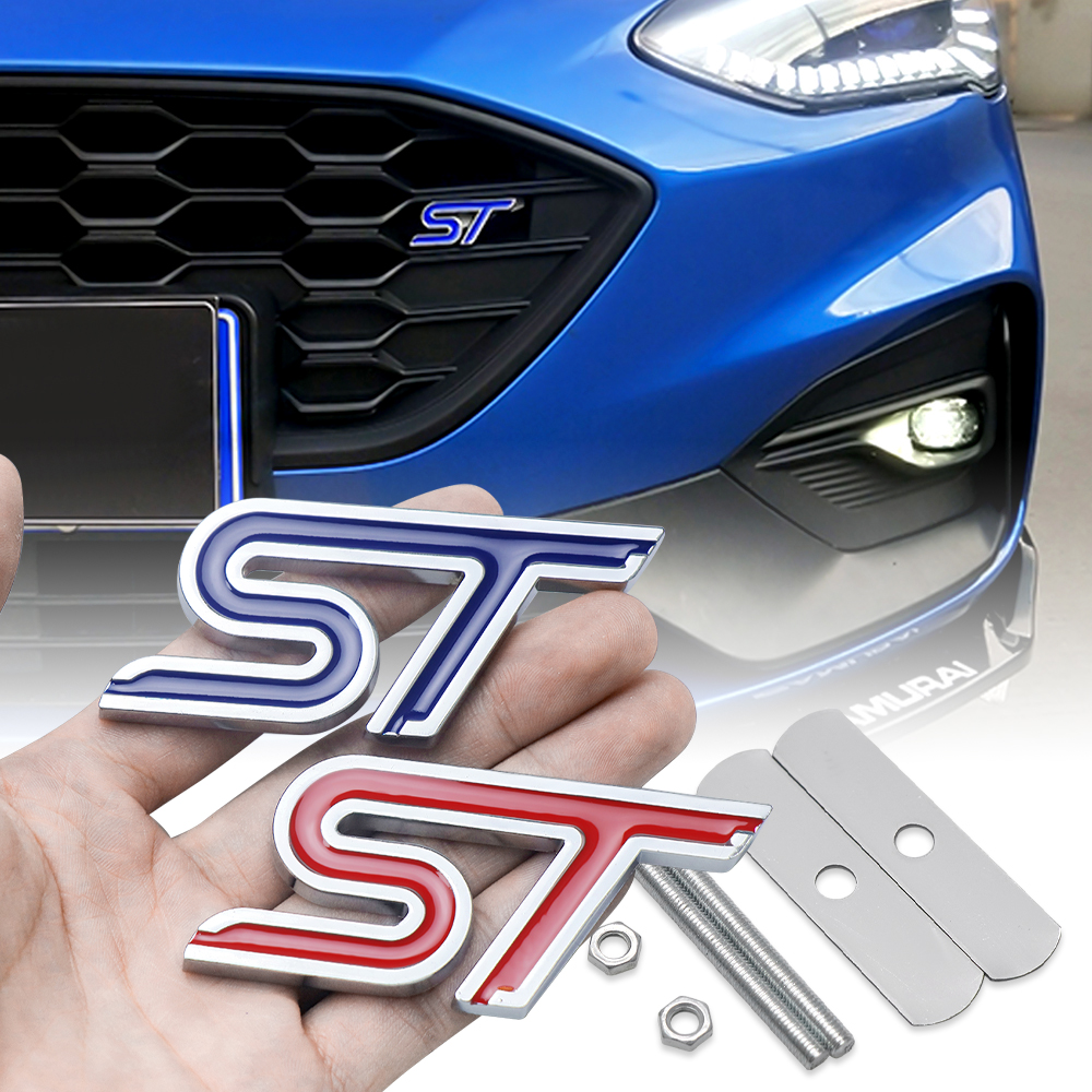 Car Aluminum Alloy ST Emblem Front Grille Body Trunk Decoration Sticker Decal For Ford Shelby Edge Ecosport Kuga Mustang TAURUS