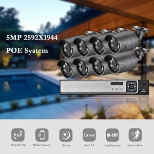 AZISHN H.265 + 8CH 5MP POE Система безопасности NVR комплект аудио IP камера ИК Открытый IP66 распознавание лица CCTV видео наблюдение NVR набор