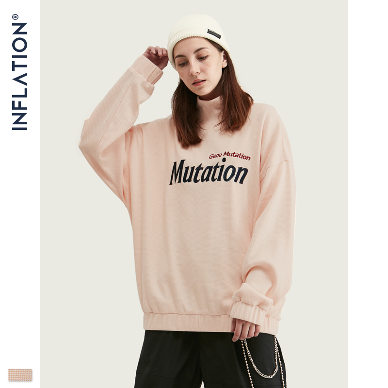INFLATION 2019 Autumn Vintage Men Hooded Tshirt In Pink With Mutation Print High Collar T-shirt Men Pullover T-shirt 91514W