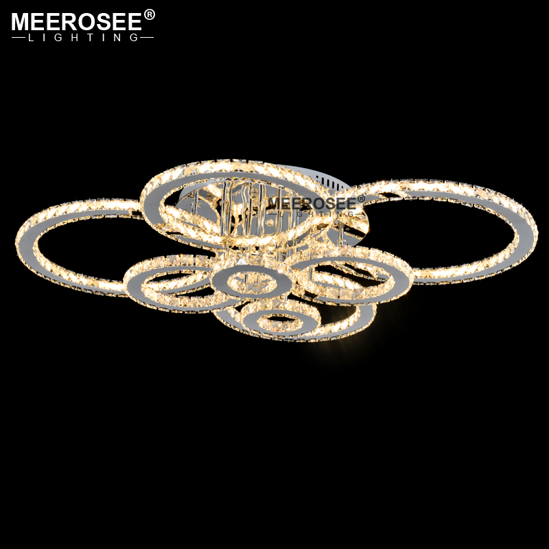 Hed815f584ecd414b82da4ff1dbe2c4eaU Good Quality Clear Ring LED Ceiling Lamp Crystals Flush Mounted living room lights lampara led techo for Home Fast Shipping