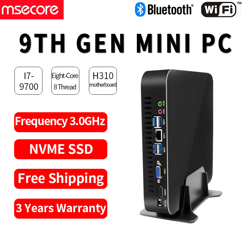 MSECORE I3 9100 I5 9400DDR4 Gaming Mini PC Windows 10 Desktop Computer Game Barebone Linux Intel UHD630 HD VGA Wifi Bluetooth