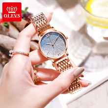 OLEVS Women Watches with stianless mesh Bracelet Top Brand Rose gold Fa