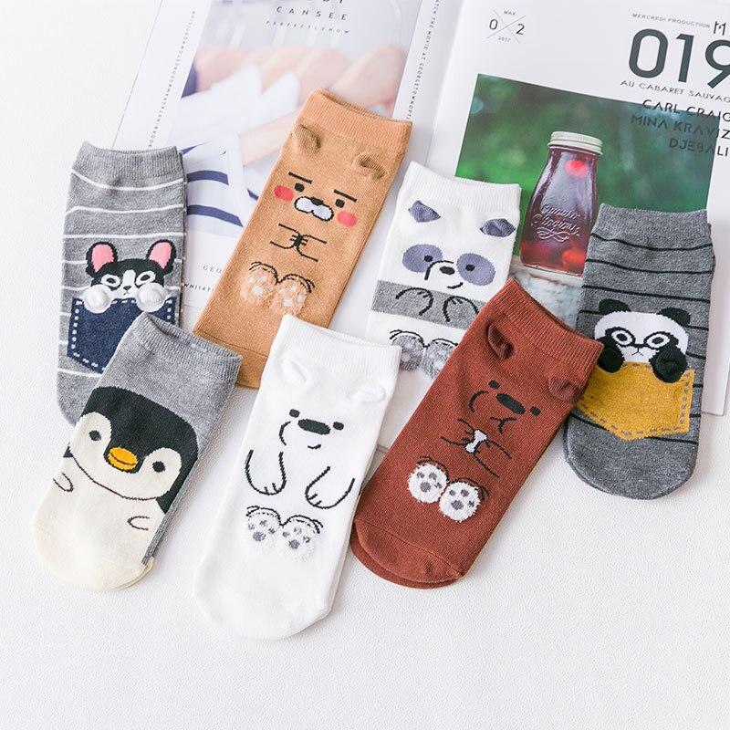 Spring New Women Cotton Boat   Sock   Bear Penguin Dog Cute Animal Ankle   Socks   Korean Version Short Casual Straight Gril   Socks   35-40