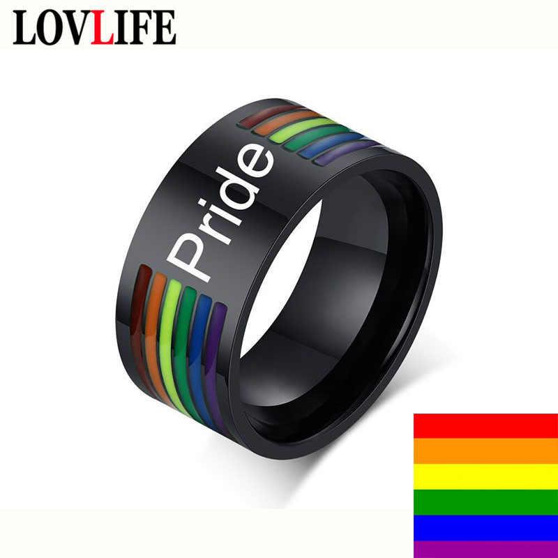 Lgbt 레인보우 스테인레스 스틸 남성 반지 동성애 커플 게이 에폭시 블랙 lebian 프라이드 반지 웨딩 파티 밴드 손가락 반지