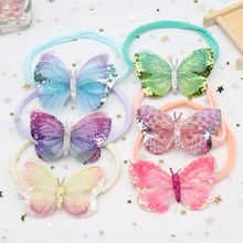 6Pcs Glitter Butterfly Hair Bows Soft Nylon Headband for Baby Girls Streched Elastic Princess Party Accessories