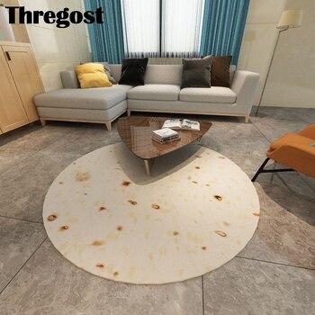 Thregost 3D impreso alfombra redonda de franela alfombras de protección para el suelo alfombrillas para silla de ordenador alfombra antideslizante lavable para sala de estar