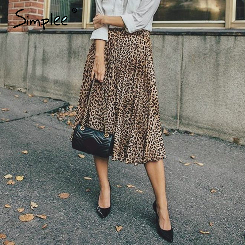 Simplee Vintage Leopard Print Pleated Skirts Women Punk Rock Korean Skirt Streetwear Drawstring Elastic Waist Ladies Midi Skirts
