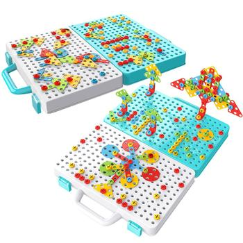 Children's DIY Drill Toys Screw Assembled Mosaic Design Toy Creative Safe Colorful Building Block Game Educational Toys for Kids 54pcs diy flower building block toy garden building toys educational creative playset pretend toy for kids