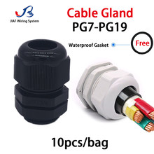 Waterproof Cable Gland 10Pcs Nylon Joint IP68 PG7 For 3-6.5mm Plastic Black White PG13.5 Cable Locking Connector PG7 PG19 PG11