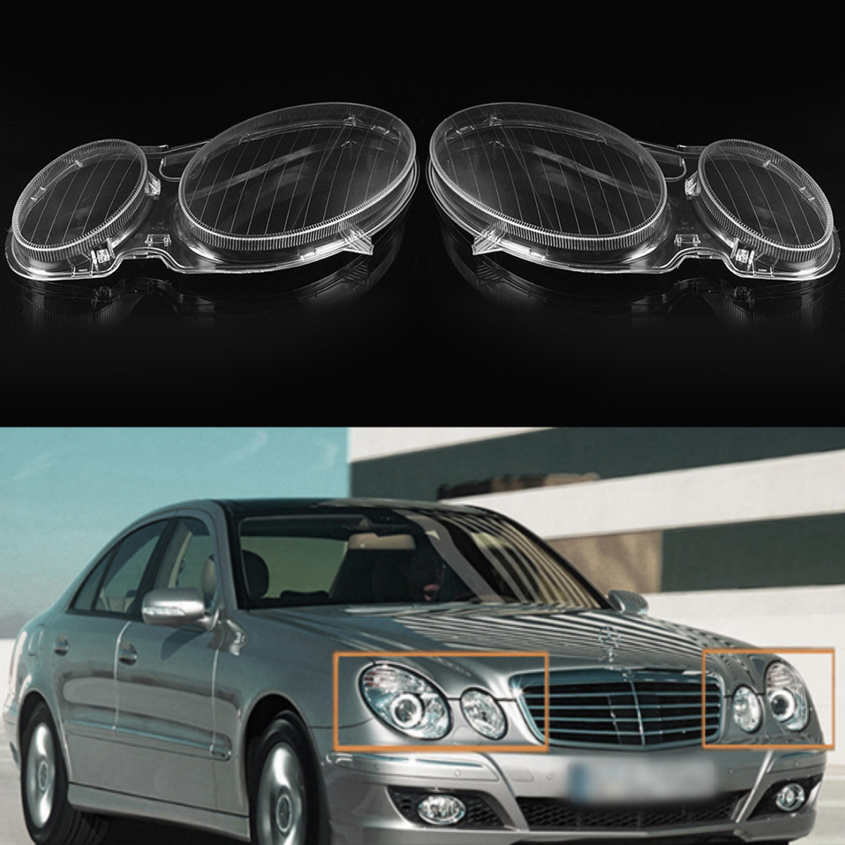 New Car Headlight Fog Light Lens Cover Shell Headlamp Lenses Cover For Mercedes For Benz E Class W211 E320 E350 2002-2008