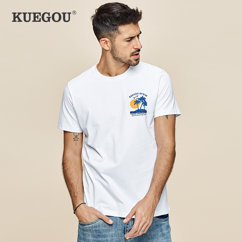 KUEGOU 2020 Summer 100% Cotton Print White T Shirt Men Tshirt Brand T-shirt Short Sleeve Tee Shirt Fashion Plus Size Tops 3337