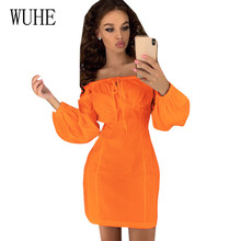 WUHE Sexy Off Shoulder Women Wrapped Chest Paragraph Word Collar Lantern Sleeve Dress Autumn Stylish Elegant Fashion Party