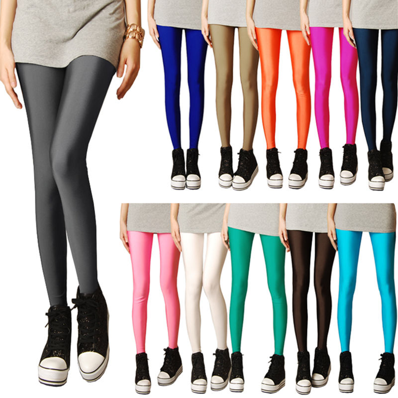 2019 New Spring Solid Candy Neon Leggings For Women High Stretched Female Legging Pants Girl Clothing Leggins Plug Size S-XL