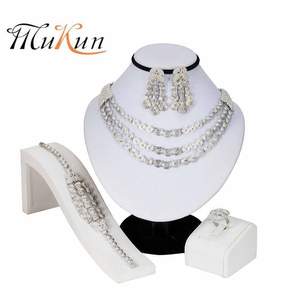 MUKUN Crystal Bridal Jewelry Sets Silver Plated Wedding Necklace Earrings Bracelet Ring African Beads Jewelry Sets Accessories