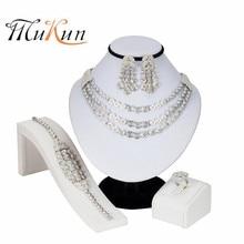 цена MUKUN Crystal Bridal Jewelry Sets Silver Plated Wedding Necklace Earrings Bracelet Ring African Beads Jewelry Sets Accessories онлайн в 2017 году