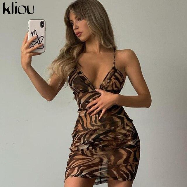 Kliou v-neck sexy summer dress sleeveless camisole bandage elastic skinny slim fashion mini dresses tiger print partywear outfit 1