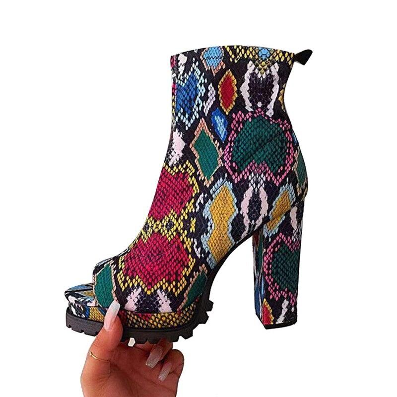 Peep Toe Shoes Women Snake Pattern Zippers Boots Autumn Spring Woman Super High Heels Ladies Platform Shoes Female Fashion 2020