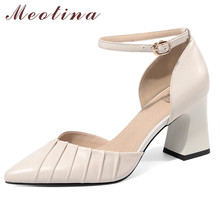 цена на Meotina Ankle Strap Women Pumps Real Leather High Heel Shoes Pointed Toe Block Heels Footwear Ladies Summer Black Large Size 43