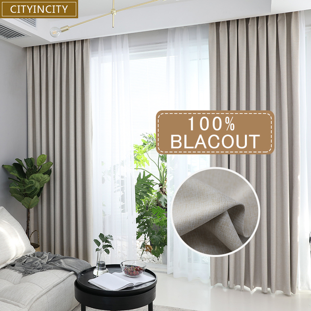 CITYINCITY solid 100% blackout Curtain For Living room Home Decor thick Faux linen Curtains for Bedroom ready made custom made