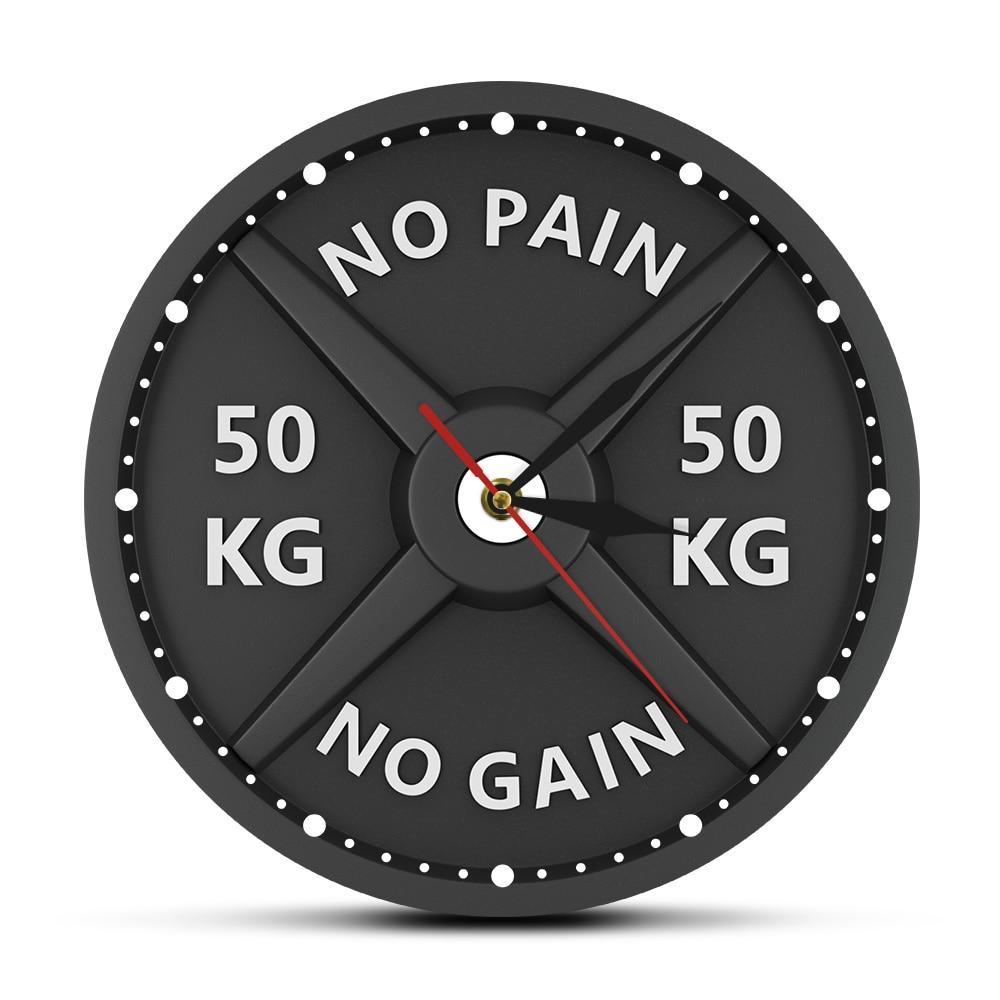Strongman NO PAIN NO GAIN 50KG Creative Print Wall Clock Circular Gym Weight Lifting Dumbbell Bodybuilding Silent Acrylic Clock