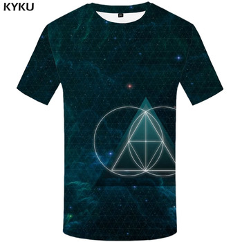 KYKU Galaxy T-shirt Men Geometric Funny T shirts Technology Tshirts Casual Street Tshirt Printed Funny T-shirts 3d Mens Clothing