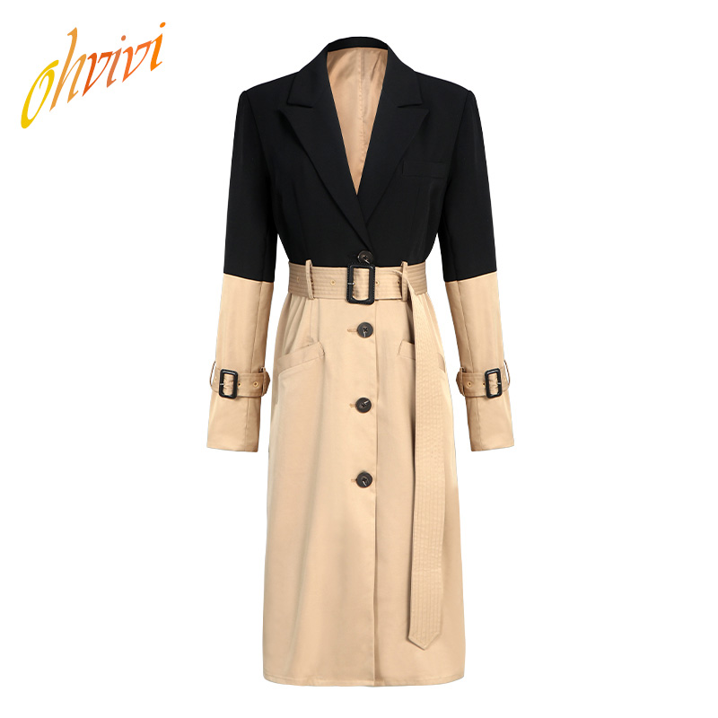 Trench Coat For Women Slim Fit Black And Brown Color Mixed High Waist With Belt Long Sleeves Turn Down Sexy Dress Blazer Ladies