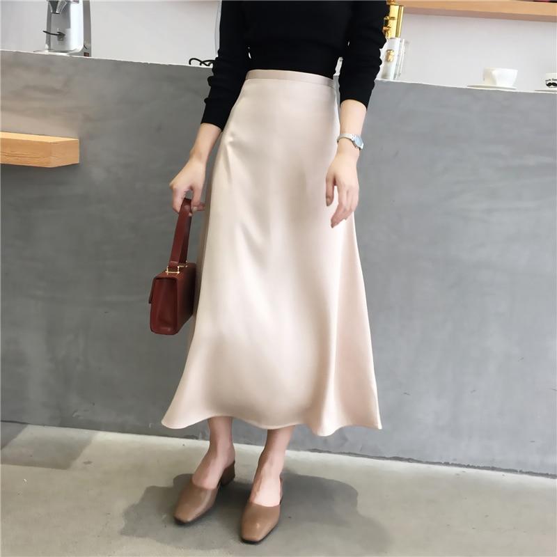 Women Elegant Office Lady Quality Glossy Satin Skirt Plain Shiny  Fashion Elegant Solid  High Waist Skirts